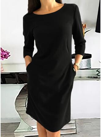 Jednolity Długie rękawy Suknie shift Długośc do kolan Mała czarna/Nieformalny Sukienki