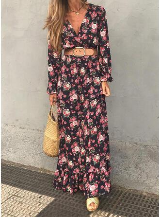 Nadrukowana/Kwiatowy Długie rękawy W kształcie litery A Łyżwiaż Casual/Wakacyjna Maxi Sukienki