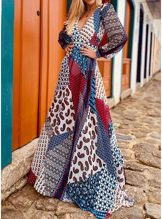 Patchwork Długie rękawy W kształcie litery A Łyżwiaż Boho/Wakacyjna Maxi Sukienki