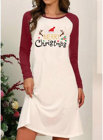 Nadrukowana Długie rękawy Pokrowiec Długośc do kolan Boże Narodzenie/Casual Sukienki