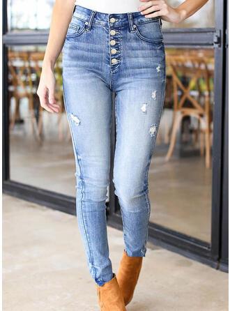 Jednolity Dżinsowa Długo Nieformalny Duży rozmiar Pocket Ripped Przycisk Dżinsy