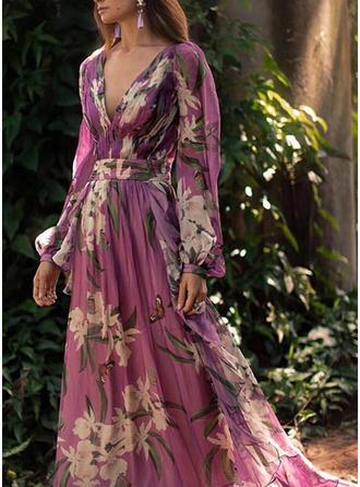 Nadrukowana/Kwiatowy Długie rękawy W kształcie litery A Casual/Elegancki/Wakacyjna Maxi Sukienki