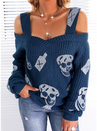 Halloween Nadruk Skull Head Zimne ramię Nieformalny Swetry
