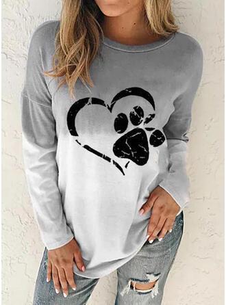 Nadruk Gradient Serce Zwierzę Okrągły dekolt Długie rękawy Bluza