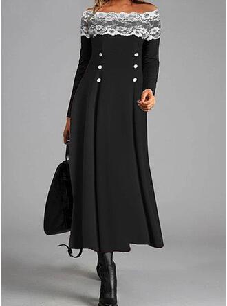 Koronka/Jednolita Długie rękawy W kształcie litery A Łyżwiaż Casual Maxi Sukienki