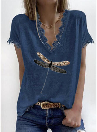 Animal Print Lace V-Neck Short Sleeves Casual Blouses