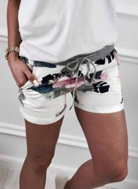 Kwiatowy Nadruk liść Nad kolanem Nieformalny sportieve Wakacyjna Pocket drawstring Spodnie Szorty