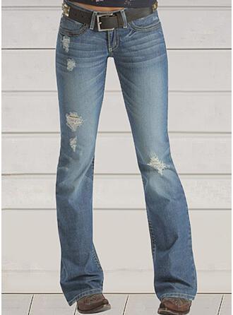 Jednolity Dżinsowa Długo Zabytkowe Duży rozmiar Pocket Ripped Dżinsy