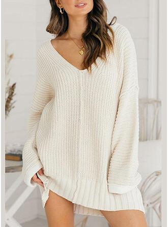 Jednolity Dekolt w kształcie litery V Casual Sukienka sweterkowa