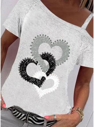 Nadruk Serce Na jedno ramię Krótkie rękawy Casual Bluzki