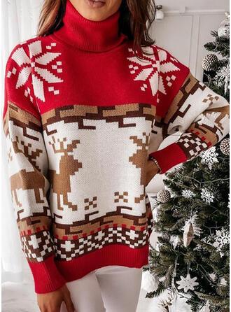 Boże Narodzenie Nadruk Renifer Snowflake Golf Nieformalny Swetry