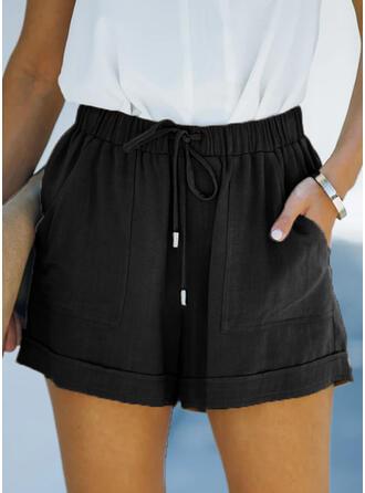 Jednolity Bielizna Nad kolanem Nieformalny Wakacyjna Duży rozmiar Pocket drawstring Spodnie Szorty