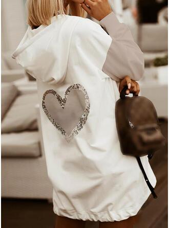 Blok Koloru Serce cekiny Długie rękawy Bluza z kapturem