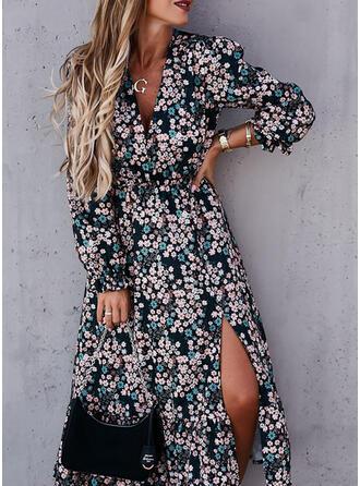 Nadrukowana/Kwiatowy Długie rękawy W kształcie litery A Łyżwiaż Casual Midi Sukienki