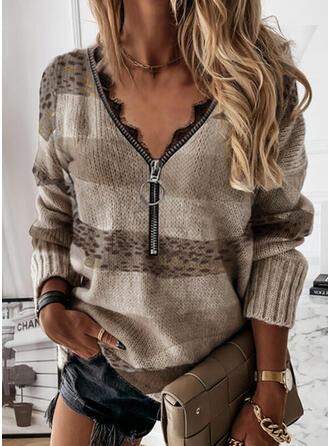 Blok Koloru lampart Koronka Dekolt w kształcie litery V Nieformalny Swetry