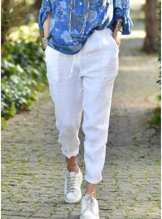 Jednolity Przycięte Nieformalny Duży rozmiar Pocket shirred Spodnie Spodnie Lounge