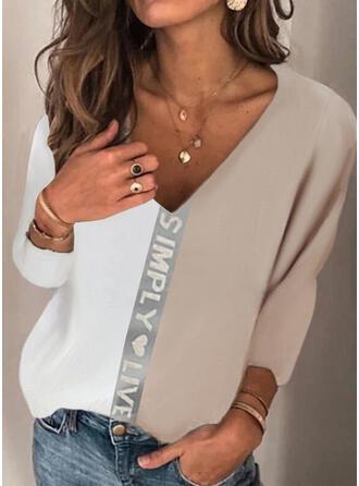 Blok Koloru Serce Nadruk Wytłaczany Dekolt w kształcie litery V Długie rękawy T-shirty
