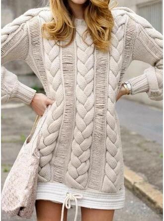 Jednolity Prążkowana dzianina Okrągły dekolt Casual Długie Sukienka sweterkowa