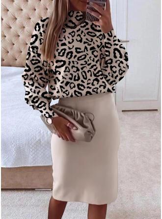 Nadruk/lampart Długie rękawy Dropped Shoulder Pokrowiec Długośc do kolan Nieformalny Sukienki