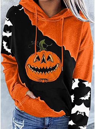 Halloween Nadruk Bluza z kapturem Długie rękawy Bluza z kapturem