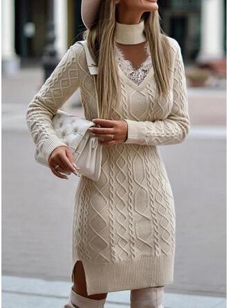 Jednolity Prążkowana dzianina Koronka Golf Nieformalny Sukienka sweterkowa