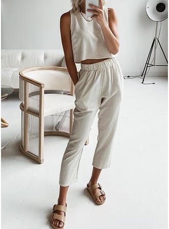 Solid Shirred Casual Solid Suits