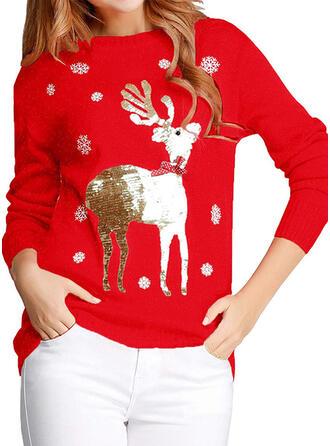 Damskie Poliester Renifer Brzydki świąteczny sweter