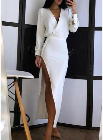 Jednolity Długie rękawy Lantern Sleeve Pokrowiec Impreza Maxi Sukienki