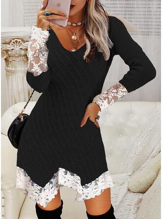 Blok Koloru Koronka Dekolt w kształcie litery V Nieformalny Sukienka sweterkowa