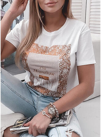 Figure Print Sequins Round Neck Short Sleeves T-shirts