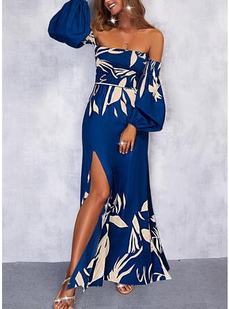 Nadruk Długie rękawy Sukienka Trapezowa Łyżwiaż Wakacyjna Maxi Sukienki