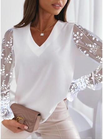 Jednolity Szyfon Koronka Dekolt w kształcie litery V Długie rękawy Elegancki Bluzki