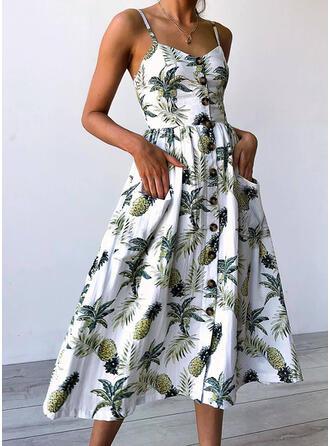 Nadrukowana Bez rękawów W kształcie litery A Casual/Wakacyjna Midi Sukienki
