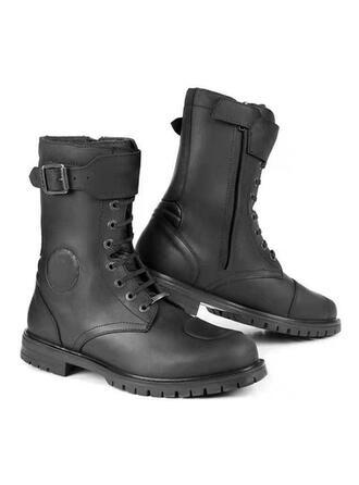 Męskie Skóra ekologiczna Płaski Obcas Riding Boots Wysoki szczyt Round Toe Buty zimowe Buty bojowe obuwie
