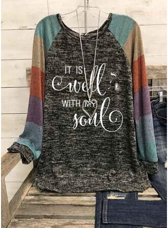 Print Color Block Figure Dandelion Round Neck Long Sleeves Casual Blouses