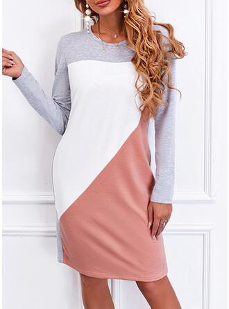 Blok Koloru Długie rękawy Suknie shift Długośc do kolan Nieformalny T-shirt Sukienki