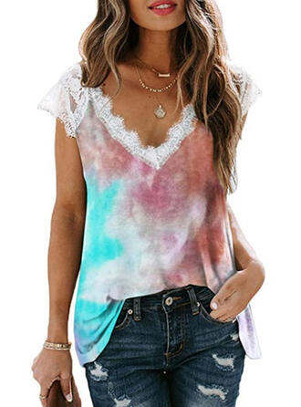 Lace Tie Dye V-Neck Cap Sleeve Casual Blouses