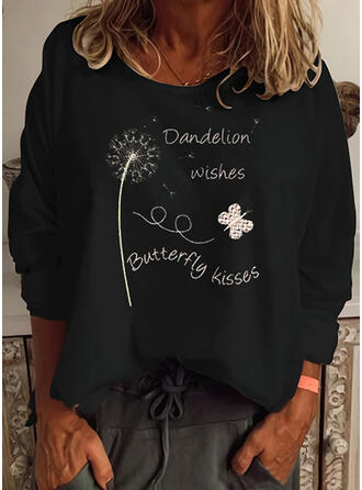Animal Print Figure Dandelion Round Neck Long Sleeves Casual T-shirts