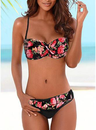 Kwiatowy Nadruk push up Wiązany na szyi Seksowny Bikini Stroje kąpielowe