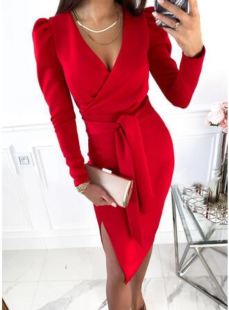 Jednolity Długie rękawy shim sleeve Pokrowiec Długośc do kolan Elegancki/Biuro / Biznes Okrycie Sukienki