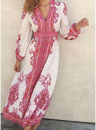 Nadrukowana/Kwiatowy/Groszki Długie rękawy W kształcie litery A Łyżwiaż Casual/Boho Maxi Sukienki