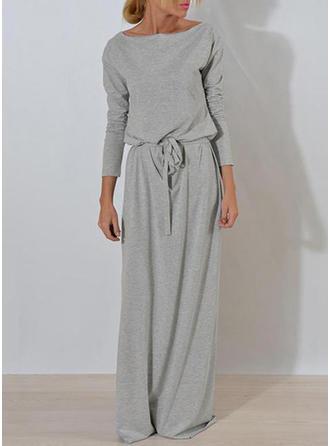 Solid Long Sleeves Sheath Casual Maxi Dresses