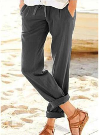 Pockets Plus Size Drawstring Cropped Casual Elegant Pants
