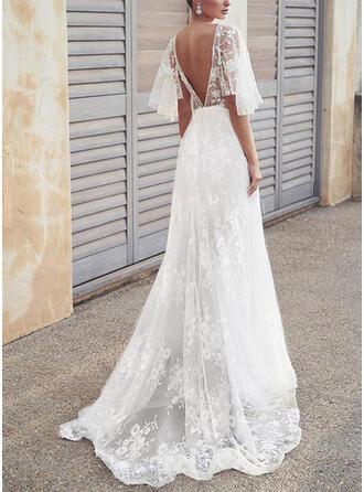Lace/Solid/Backless 1/2 Sleeves A-line Skater Elegant Maxi Dresses