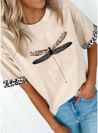 Animal Print Leopard Round Neck Short Sleeves T-shirts