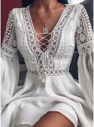 Lace/Solid Long Sleeves/Flare Sleeves A-line Above Knee Little Black/Elegant/Vacation Skater Dresses