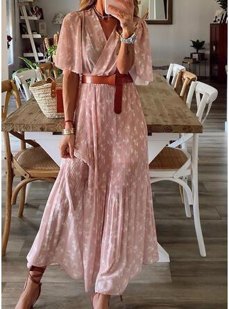 Nadrukowana/Kwiatowy Rękawy 1/2/Rozkloszowane rękawy W kształcie litery A Casual Maxi Sukienki