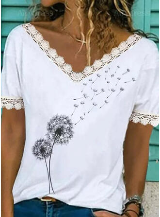 Print Lace Dandelion V-Neck Short Sleeves Casual Blouses