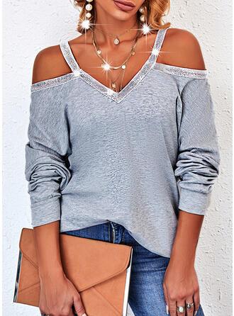 Jednolity cekiny Zimne ramię Długie rękawy Bluza
