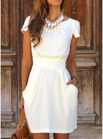 Solid Short Sleeves Sheath Above Knee Elegant Dresses
